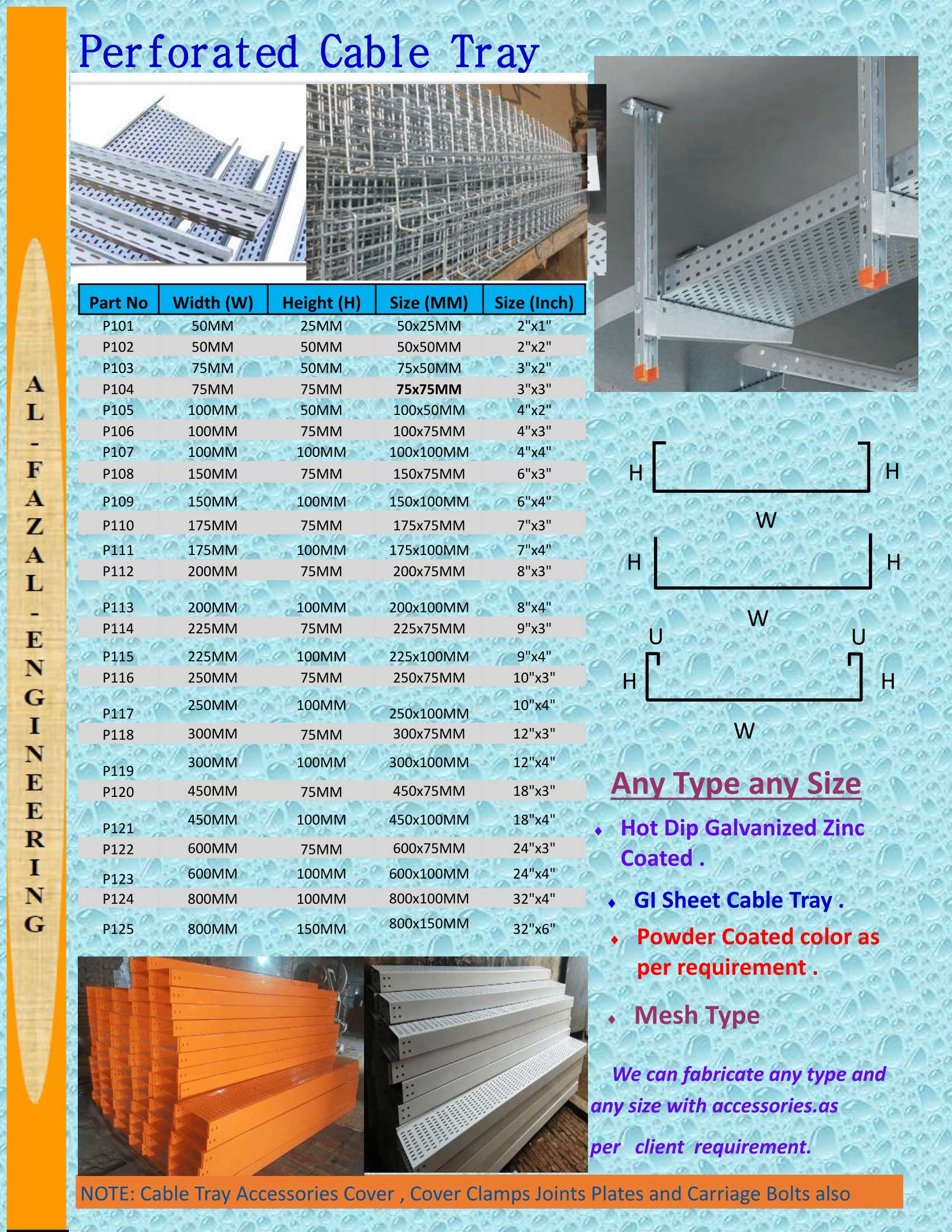 Cable Tray Perforated Cable Tray - Al-Fazal Engineering