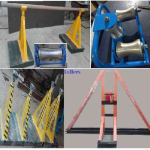Caution Tape, Unistrut channel and cable mesh, cable tags, underground route markers, cable termination, cable glands, cable Lugs, cable identification, conduit pipe, conduit end bush and panels, DBs, cable clamps, conduit clamps, cable clamps, earth rod, earth plate, copper, earth pit, threading rod, cable drum jack, rollers, overhead line tower, solar poles