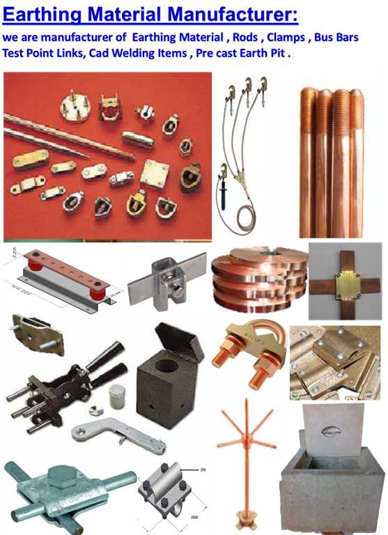 Earth Material copper MS GI Rod   clamps test point Cad welding Air terminal Maxi Clamp Bus Bar Lightning Protection earth pit  supply and services